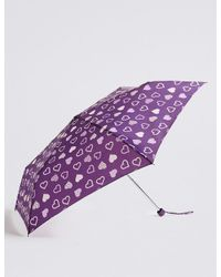Marks & Spencer | Purple Heart Print Umbrella With Stormweartm | Lyst