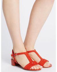 Marks & Spencer - Red Suede Block Heel T-bar Sandals - Lyst