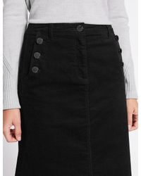 Lyst Marks Amp Spencer Cotton Rich Cord A Line Skirt In Black