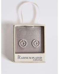 Marks & Spencer - Metallic Platinum Plated Double Circle Stud Earrings - Lyst
