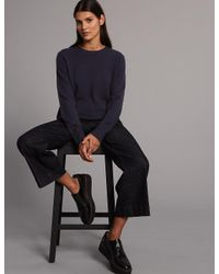 Marks & Spencer - Blue Pure Cashmere Ribbed Round Neck Jumper - Lyst