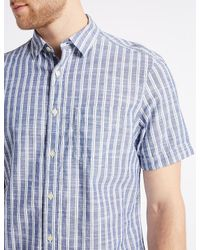 Marks & Spencer Blue Pure Cotton Striped Shirt With Pocket for men