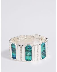 Marks & Spencer - Multicolor Silver Plated Shell Stretch Bracelet - Lyst
