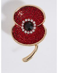 Marks & Spencer - Red Sparkle Poppy Brooch - Lyst