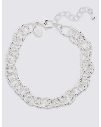Marks & Spencer - Metallic Silver Plated Textured Link Bracelet - Lyst