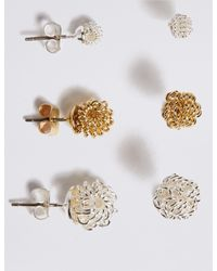 Marks & Spencer - Metallic Silver Plated Knotted Stud Earrings Set - Lyst