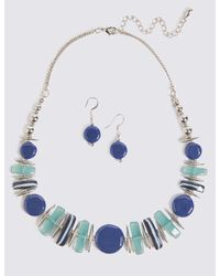 Marks & Spencer - Blue Horizon Shapes Necklace & Earrings Set - Lyst