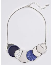 Marks & Spencer - Blue Flat Disc Collar Necklace - Lyst