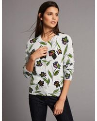 Marks & Spencer - Gray Pure Cashmere Floral Print Cardigan - Lyst
