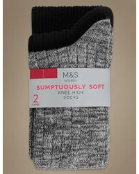 Marks & Spencer - Gray 2 Pair Pack Heavyweight Sumptuously Soft Knee High Socks for Men - Lyst