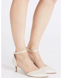 Marks & Spencer - White Kitten Heel Scallop Court Shoes - Lyst