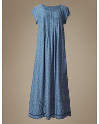 Marks & Spencer - Blue Leaf Print Short Sleeve Nightdress - Lyst