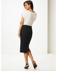 Marks & Spencer Black Cotton Rich Zip Detail Skirt