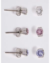 Marks & Spencer - Multicolor 3 Pack Earrings With Swarovski® Crystals - Lyst