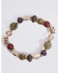 Marks & Spencer - Multicolor Etched Charm Stretch Bracelet - Lyst