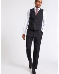 Marks & Spencer - Blue Navy Textured Regular Fit Waistcoat for Men - Lyst