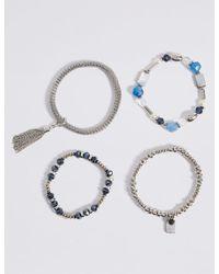Marks & Spencer - Multicolor Gem Tassel Multi Stretch Bracelet - Lyst