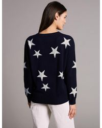 Marks & Spencer - Blue Pure Cashmere Oversized Star Jumper - Lyst