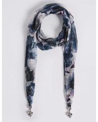 Marks & Spencer - Blue Floral Print Scarf Necklace - Lyst