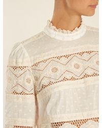 Zimmermann - Natural Prima Dot Floral Embroidered Cotton Top - Lyst