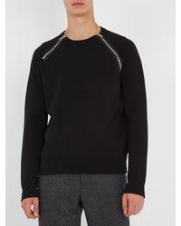 Givenchy | Black Front-zip Cotton-blend Sweatshirt for Men | Lyst