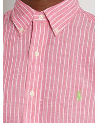 Polo Ralph Lauren | Pink Logo-embroidered Striped Linen Shirt for Men | Lyst