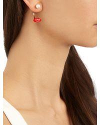 Delfina Delettrez | Red Enamel, Pearl & Gold Earring | Lyst