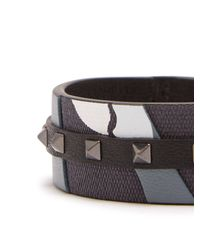 Valentino - Gray Rockstud Camouflage Leather And Canvas Bracelet for Men - Lyst