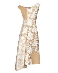 Stella McCartney | Metallic Jackie Off-the-shoulder Patchwork Dress | Lyst