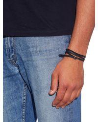 Luis Morais - Black Yellow-gold And Leather Bracelet for Men - Lyst