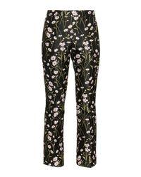 Giambattista Valli | Black Floral-jacquard Kick-flare Trousers | Lyst
