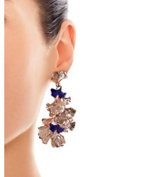 Aurelie Bidermann | Pink Ginkgo Lacquered Rose Gold-plated Clip-on Earrings | Lyst