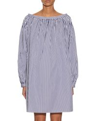 Maison Rabih Kayrouz - Orange Striped Cotton-poplin Off-the-shoulder Dress - Lyst