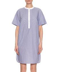 Vince - Purple Striped Cotton-poplin Dress - Lyst