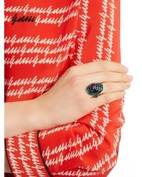 Gucci - Blue Stud And Crystal-embellished Ring - Lyst