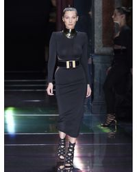 Balmain - Black Tulle-insert Midi Dress - Lyst