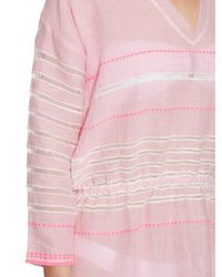 lemlem - Pink Almaz V-neck Striped Dress - Lyst