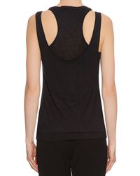 Rag & Bone - Black Raw-edge Layered Linen Tank Top - Lyst