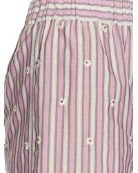 N°21 - White Embellished Striped Cotton-poplin Shorts - Lyst