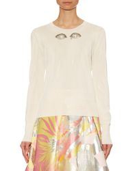 Rochas - White Embellished-eye Fine-knit Sweater - Lyst