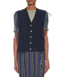 MUVEIL - Blue Sleeveless Tulle Cotton-knit Cardigan - Lyst