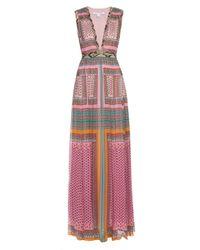 Diane von Furstenberg | Pink Lelani Faux Snake-trimmed Printed Silk-georgette Gown | Lyst