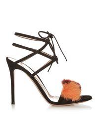 Gianvito Rossi | Black Zelda Fur-trimmed Suede Sandals | Lyst