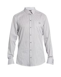 Dolce & Gabbana | Blue Gold-fit Crown-embroidered Cotton Shirt for Men | Lyst