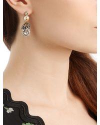 Gucci - Metallic Pearl-effect Embellished Flower Earrings - Lyst