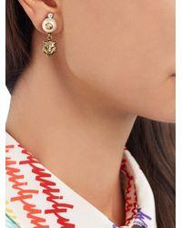 Gucci - Multicolor Faux-pearl Embellished Feline-drop Earrings - Lyst