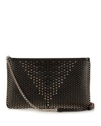 Christian Louboutin | Black Loubiposh Spiked Textured-leather Clutch | Lyst