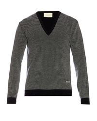 Gucci | Blue V-neck Wool Sweater for Men | Lyst
