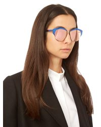 Dior - Blue Mirrored Contrast Sunglasses - Lyst