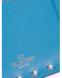 Valentino | Blue Rockstud Zip-top Leather Cardholder | Lyst